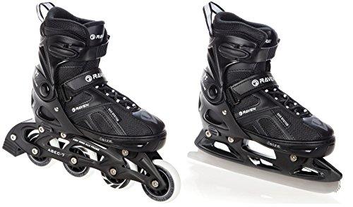 2in1 Schlittschuhe Inline Skates Inliner Raven Pulse Black verstellbar (40-43(25cm - 27,5cm))