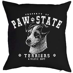Hunde Deko-Kissen mit Paw State Dog Aufdruck: Jack Russell Terrier - tolle Geschenkidee mit Tier Motiv