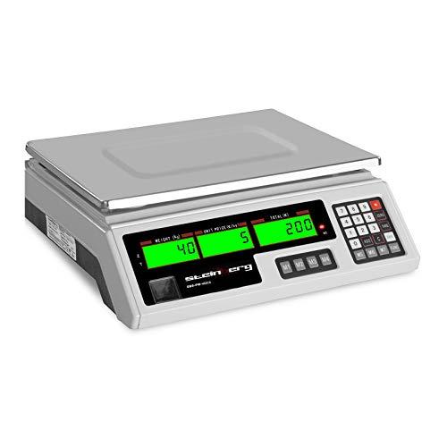 Steinberg Bilancia Contapezzi Bilancia di Controllo SBS-PW-402CS (Plastica ABS, Acciaio Inox, 4 V, 8 Ore, 4 Ah, 5 g - 40 kg)