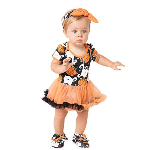 Anguang Neugeborenes Baby Mädchen 3Pcs Kurzarm Romper Kleider Tutu Rock + Stirnband + Schuhe Niedlich Halloween Outfit Kleidung (Wie Das Bild, Größe 80)