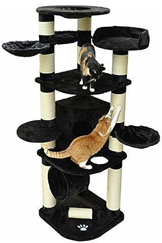 nanook Gigant - Katzen-Kratzbaum XXL (190 cm), Premium Qualität, Ø 15 cm Sisalstämme, extrem stabil, für große schwere Katzen - schwarz