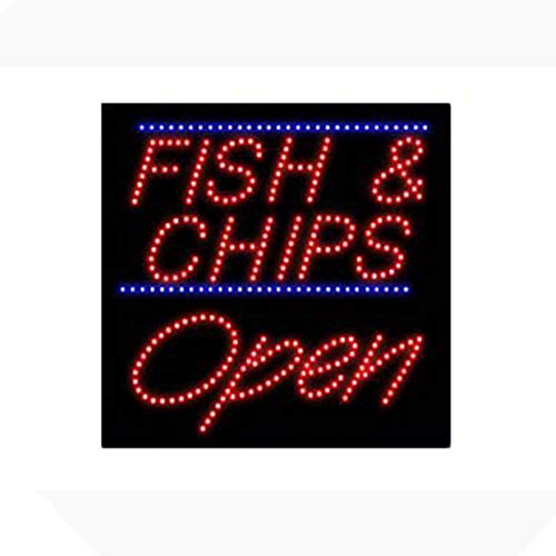 LED Fish Chips Open Light Sign Super Bright High Quality Electric Advertising Display Board for Fried Chicken Shrimp Seafood Restaurant Business Shop Store Window Bedroom 16 x 16 inches
