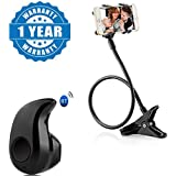Drumstone Snake Like Design Adjustable Phone Holder Flexible Stand For Home, Office, Car With S530 Mini Style Wireless Bluetooth In-Ear V4.0 Stealth Headset Compatible With Xiaomi, Lenovo, Apple, Samsung, Sony, Oppo, Gionee, Vivo Smartphones (One Year War