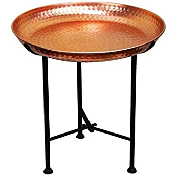 Oriental Moroccan Arabian Brass Folding Coffee Tea Side Table With Tray Mia 40cm Copper