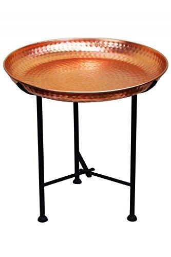 Marokkanischer Tisch Beistelltisch aus Metall Sule ø 40cm rund | Orientalischer runder Teetisch klein mit klappbaren Gestell in Schwarz | Das Tablett diese Klapptische ist orientalisch in Silber (Beistelltisch-set Antik)
