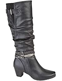 70b2956b5a8 Cipriata Ladies Womens Mid Heel High Leg Adjustable Calf Zip Ruched Boots  Shoes Size 3-