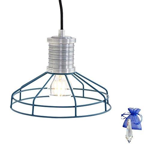 Lampe suspension bleu en usine Lampe de lampes design industriel fil Vintage Rétro Industrie E27 Lampe d'atelier Lampe suspension Lampe de cuisine + Cadeau