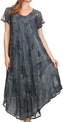 Sakkas 16800 - Sayli Lange Krawatten-Kappen-Hülse gesticktes Weithals Kaftan Kleid/Cover Up - Ink Blue - OS -