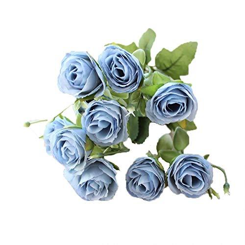 Carry stone 1X Real Touch Künstliche Rose Blume Seide Brautstrauß für Hausgarten Party Hochzeit Dekoration Blau 30 * 3 cm Hohe Qualität (Real Touch Blumen Brautstrauß)