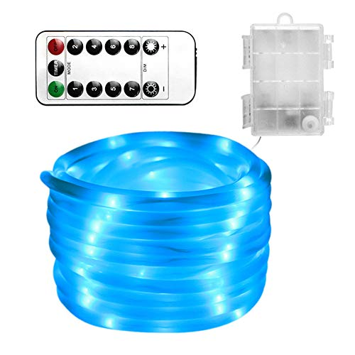 Zzyq Akku-Box Lichterkette Outdoor-Gehäuse Wasserdichte Lichterkette Runde Rohr Dekorative Lichterkette 8 Funktionen 5m100LED(Blue) -