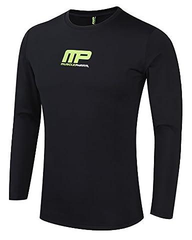 Musclepharm Men's 418 Long Sleeve Rash Guard - Black, Large