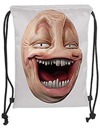 ZKHTO Drawstring Sack Backpacks Bags,Humor Decor,Poker Face Guy Meme Laughing Mock Person Smug Stupid ODD Post Forum…