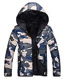Herren Winterjacke Langarm Wärmen Rmejacke Parka Vintage Fashion Camouflage Military Stil Steppjacke Kapuzenjacke Mantel (Color : Blau, Size : L)