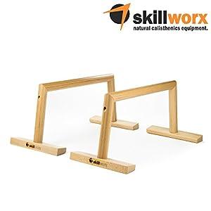 skillworx Parallettes: Minibarren aus FSC-Holz für Calisthenics und Turntraining