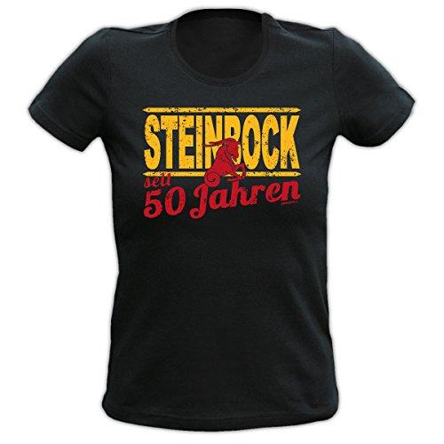 Lustiges Damen T-Shirt zum 50.Geburtstag : 50 Jahre Steinbock Sternzeichen T-Shirt Geburtstag --Goodman Design® Schwarz