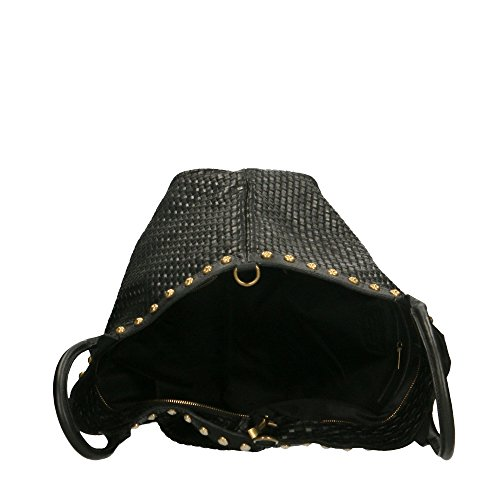 Borsa a Mano da Donna Stampa Intrecciata con Tracolla in Vera Pelle Made in Italy Chicca Borse 53x34x20 Cm Nero