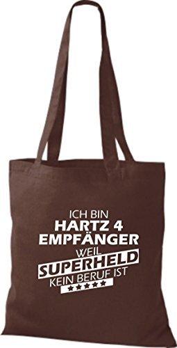 shirtstown Borsa di stoffa SONO hartz4 Empfänger, WEIL supereroe NESSUN lavoro è Marrone