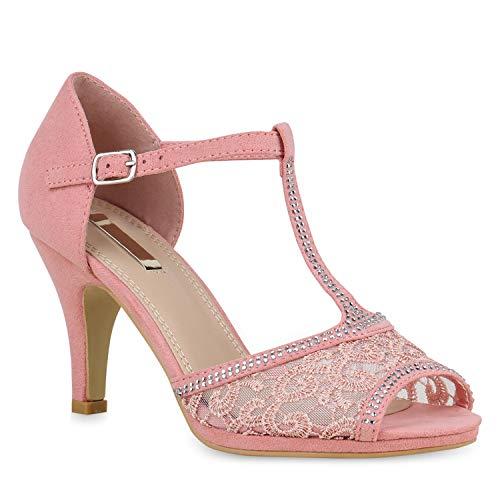 Stiefelparadies Riemchensandaletten Damen Pumps Spitze Sandaletten Strass Stilettos 139685 Rosa 38 Flandell (Kleid Strappy Schuhe)