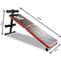 F4H ES-514 Banco plegable abdominal AB Crunch gimnasio en casa con saco de boxeo., rojo