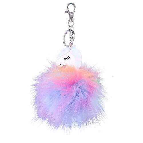 Bobopai Keychain Rabbit Fur Ball Unicorn Key Chain Bag Plush Car Key Ring Charm Pendant Gift (Multicolor) -