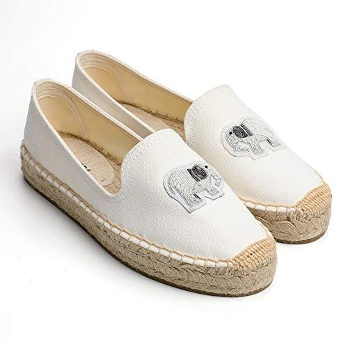 YOPAIYA Alpargatas Zapato Antideslizante Plateado con Estampado De Elefante Blanco De Spring, para Mujer, 35