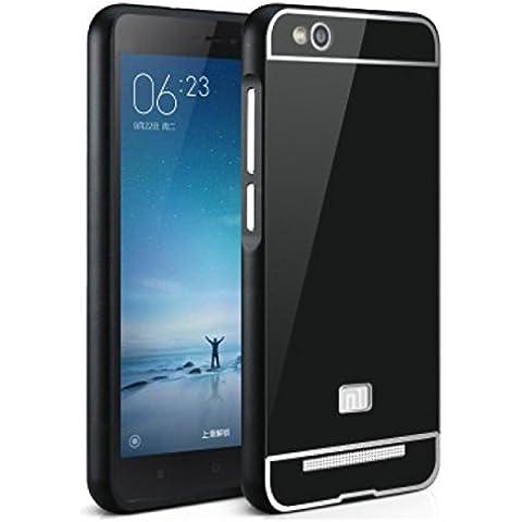 Prevoa ® 丨 Xiaomi Redmi 3 Funda - Metal Frame Funda Cover Case Protictive Carcasa para Xiaomi Redmi 3 4100 mAh 4G LTE 5,0 pulgadas Smartphone - Negro