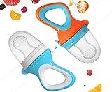 AstreBaby - Ciuccio con Retina per Frutta Set 2 Colori - Con corredati di clip per agganciarli e 3 tettarelle in silicone di ricambio … (Blue)