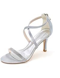 5b113907326 Qingchunhuangtang  Alto grado de rhinestones elegante satén zapatos de  mujer sencilla banda cruzada zipper tacón