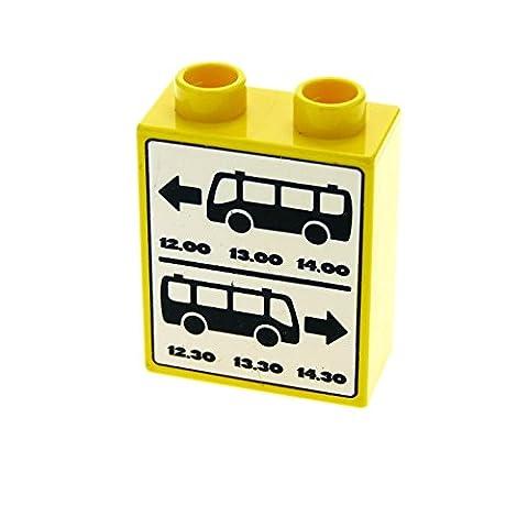 1 x Lego Duplo Motivstein gelb 1x2x2 bedruckt Bus Zeitplan Abfahrt Fahr Plan Bau Stein für Set 5636 4066pb334