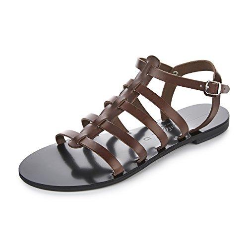 Schmick Shoes Sandalen Hera I: Damen Leder Gladiator Sommerschuhe Flacher Absatz Handgefertigt Größe:38, Farbe:Braun/Schwarz (Leder Schwarz Gladiator Sandalen)
