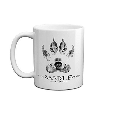 I Am A Wolf And Will Not Be Afraid Wolf And Pow Cool Artwork Game Of Thrones Coole Tasse Keramische Mit Griff Weiß Becher 11oz/312ml Für Tee Wasser Milch Kaffee