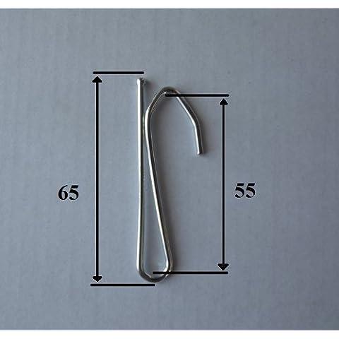 Ganci per tende in acciaio nichelato a inserire, dimensioni 65mm, un ramo alta 55mm, 20 unités