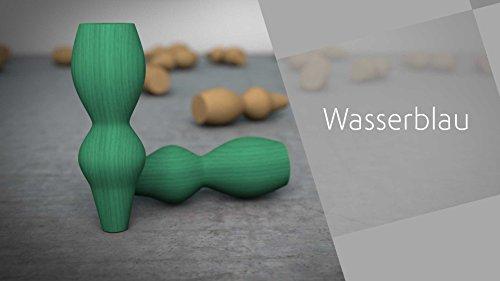Couchfüße Holz » Die kurvige GRETA (2er Pack) (WASSERBLAU)