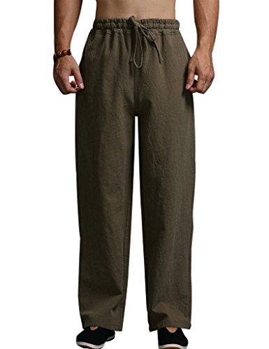 Youlee Herren Elastische Taille Baumwolle Leinen Hosen Armeegrün