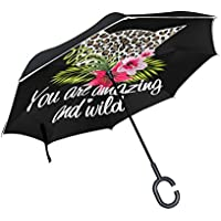 coosun leopardo con flores doble capa paraguas invertido Reverse paraguas para coche y uso al aire libre lluvia impermeable y a prueba de viento UV Protección grande recto paraguas con mango en forma