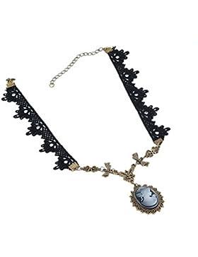 Yazilind SchmuckhalsbandHalskette Goth Lolita viktorianischen Cameo Kupfer Bowknot Floral Black Lace Handgefertigte...