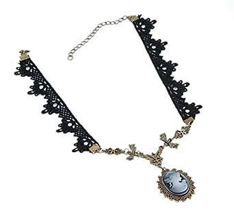 Yazilind collier bijoux Lolita Goth victorien Cameo cuivre bowknot noir floral dentelle collier fait main