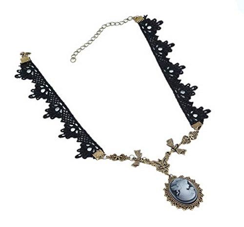 Collar joyería Yazilind Lolita gótico victoriano Cameo Cobre arco Negro floral del cordón del collar hecho a mano para la Mujer