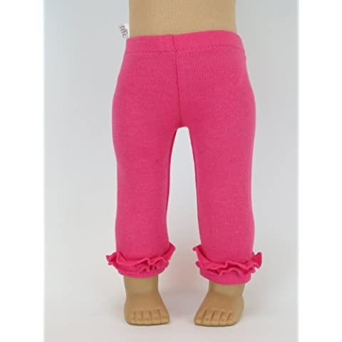 Hot Pink Ruffle Leggings for Dolls - Fits 18 American Girl Dolls, Gotz, Our Generation Madame Alexander and Others. by American Fashion World