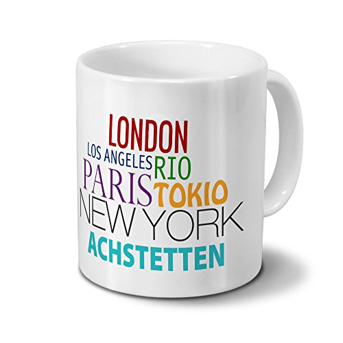 Städtetasse Achstetten - Design Famous Cities of the World - Stadt-Tasse, Kaffeebecher, City-Mug, Becher, Kaffeetasse - Farbe Weiß -