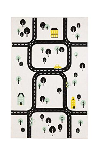 Aminata Kids - Teppiche Kinderzimmer Jungen Auto Straßenmotiv Spielteppich 95x150 cm *Polyamid Kurzfloor rutschhemmend lärmhemmend* Kinderteppich Fahrzeug Straßenteppich Autoteppich Spielunterlage