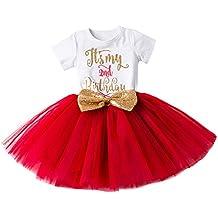 IWEMEK Bebé Niñas Es mi 1º/2º Cumpleaños Lentejuela Arco Tutú Princesa Vestido de Fiesta