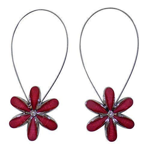 """2 x magnetisch Blumenmuster Raffhalter rot silber Strass Metall Vorhänge Voiles Netze 14 """""""