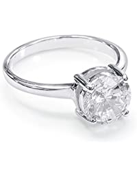 Peora 925 Sterling Silver Cubic Zirconia Rhodium Empress Solitaire Ring for Women and Girls