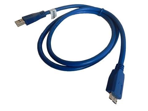 vhbw 1.0m Micro-USB 3.0 Daten Lade Adapter Kabel blau für Samsung Galaxy Note Pro 12.2 SM-T900 etc. wie Samsung