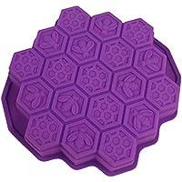 Joyfeel buy Moldes silicona DIYutensilios para hornear reposteria magdalenas pasteles fondant con panal y abejas para fiestas Navidad Púrpura