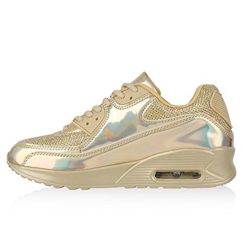 Trendige Unisex Laufschuhe | Damen Herren Kinder | Sportschuhe Metallic Glitzer | Camouflage Sneaker Bunt | Schnür Sport Turnschuhe Gold Glanz