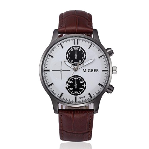 Herren Uhren Analog Armbanduhren SOMESUN Quartz Retro Watches Lederband (Braun)