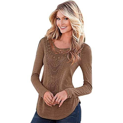 SEWORLD Sport Damen Mode Freizeit Oberteile Bluse Sommer Herbst Einzigartig Frauen Winter Lose Langarmshirts Bluse Shirt Casual Hollow Crochet T-Shirt(Kaffee,EU-32/CN-S)