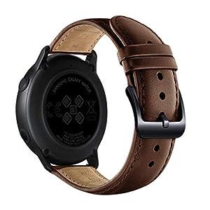 Bloodfin für Samsung Galaxy Watch Active 20mm Armband, Leder Armbänder Einstellbare Ersatzarmband Lederarmband Vintage Echtleder Uhrenarmbänder Zubehörteil Fitnessband Männer Frauen